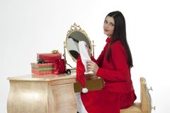 Beautiful santa girl wearing santa claus clothing Royalty Free Stock Photography