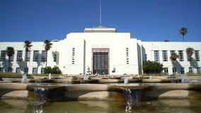 The beautiful Santa Monica City Hall with fountain stock video