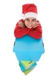 Beautiful santa woman with christmas presents Royalty Free Stock Photos