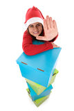 Beautiful santa woman with  christmas presents Royalty Free Stock Image