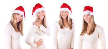 Beautiful Santa woman collage. Beautiful Santa Claus woman collage, portrait of pretty female wearing red festive hat isolated on white background, Christmas Stock Image