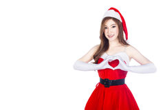 Beautiful Santa woman doing a heart with her hand  on wh Royalty Free Stock Images