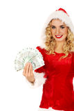 Beautiful santa woman holding a clip of polish money Stock Photos