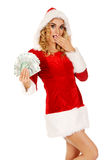 Beautiful santa woman holding a clip of polish money Stock Photo