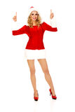 Beautiful santa woman pointing something Stock Image