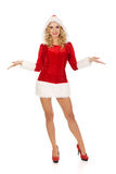 Beautiful santa woman pointing something Royalty Free Stock Images