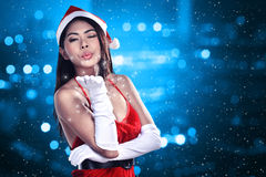 Beautiful Santa Woman Stock Photography