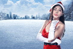 Beautiful Santa Woman Stock Photos