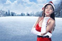 Beautiful Santa Woman Stock Photos
