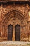 Beautiful Santisima Trinidad Church in la Plaza Mayor in Alcaraz, Spain stock photos