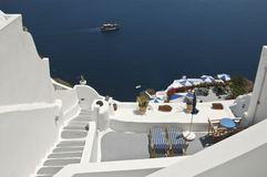 Beautiful Santorini. Whitewashed walls against the blue water of the Caldera, Ia, Santorini Royalty Free Stock Images