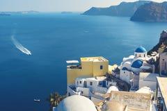 Beautiful Santorini. boat ride in sea. Greece.