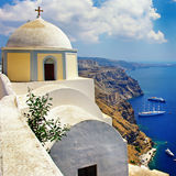 Santorini. Beautiful Santorini - view of caldera with cruise ships Royalty Free Stock Images