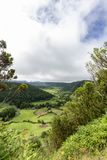 Beautiful Sao Miguel. Beautiful view of farmland on the valley floor of the Sete Cidades caldera on Sao Miguel, Azores royalty free stock photography