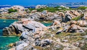 Beautiful Sardinia island landscape with granite rocks and azure coloured bays in Porto Pollo Royalty Free Stock Image