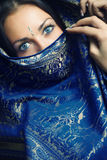 Beautiful sari. Elegant lady with blue eye lens in traditional Indian sari royalty free stock photos