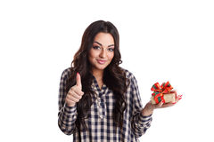 Beautiful satisfied woman with a present Royalty Free Stock Photo