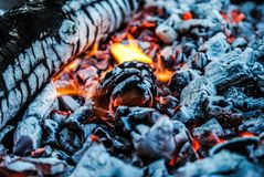 Burning logs and embers in the fire royalty free stock image