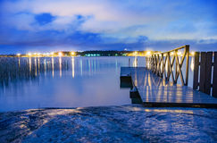 Beautiful sauna sea entry bridge pier royalty free stock photos