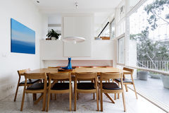 Beautiful scandinavian style interior in mid century modern Aust. Beautiful scandinavian style dining room in mid century modern Australian home Stock Photo