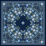 Beautiful scarf with blue flowers. Lovely tablecloth. Bandana print. Pillowcase. Print for fabric. Kerchief square design pattern. In vector royalty free illustration