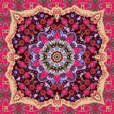 Beautiful scarf or carpet in ethnic style with paisley and floral ornament.  Stock Image