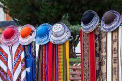 beautiful scarves and hats royalty free stock photography