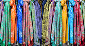 Beautiful scarves on sale Stock Photo