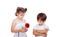 Beautiful scene of angry boy and girl Royalty Free Stock Photos