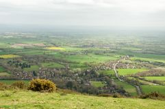 Malvern hills springtime panoramic scenery in the English countryside. A beautiful scene around the English countryside of the Malvern hills in United Kingdom Stock Images