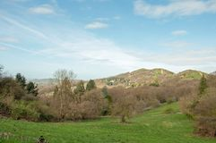 Malvern hills springtime scenery in the English countryside. A beautiful scene around the English countryside of the Malvern hills in United Kingdom Stock Image
