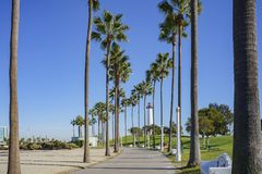 Beautiful scene around Rainbow Harbor. Long Beach, California, U.S.A Stock Photo