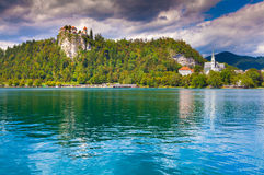 Beautiful scene of Bled Lake, Bledsky lake. Juliansky Alpine. Sl Royalty Free Stock Photography