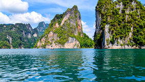 Beautiful scene Blue clear water with rock mountain . Stock Image