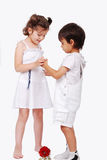 Beautiful scene of a boy and girl Royalty Free Stock Photo