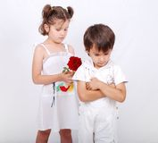 Beautiful scene of a boy and girl Stock Photography