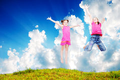 Beautiful scene of happy childhod Royalty Free Stock Photos