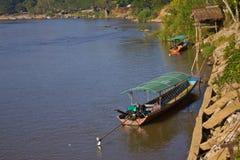 Beautiful scene of Kok River at Chiang Rai province. royalty free stock image