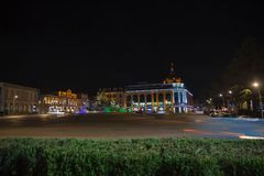 Beautiful scene of Kutaisi in a New Year night. City night park in autumn with paths strewn. Central night street Stock Photography