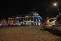 Beautiful scene of Kutaisi in a New Year night. City night plaza in autumn with paths strewn. Central night street Stock Images