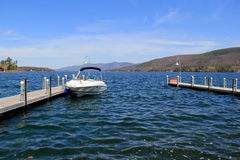 Beautiful scene of long piers and moored boats, Lake George, New York, 2016 Royalty Free Stock Photography