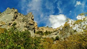 Rocky Canyon Wall. A beautiful scene looking up at the rocky pinnacles of the canyon wall of Little Rock Canyon in Provo, UT royalty free stock photo