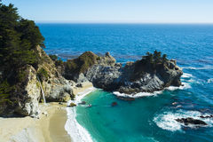 Beautiful scene of McWay Fall along highway 1, california Royalty Free Stock Images