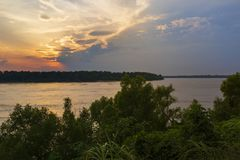 Beautiful scene with the Mississippi river at sunset near the city of Vicksburg in the State of Mississippi royalty free stock photos