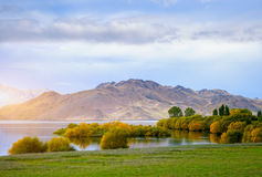 Beautiful scene of the morning lake in New Zealand Stock Photos