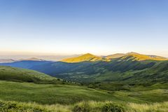 Beautiful scene in mountains at sunrise or sunset Stock Photography