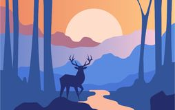 Beautiful scene of nature, peaceful landscape with forest and deer at evening time, template for banner, poster. Magazine, cover horizontal vector Illustration royalty free illustration
