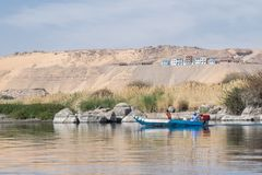 Beautiful scene for Nile river and boats from Luxor and Aswan tour in Egypt stock photo