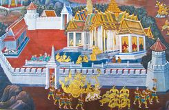 Beautiful Scene Painted on a Temple Royalty Free Stock Images