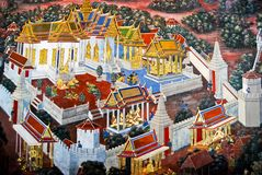 Beautiful Scene Painted on a Temple Wall Stock Photos